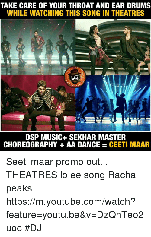 Choreography: TAKE CARE OF YOUR THROAT AND EAR DRUMS  WHILE WATCHING THIS SONG IN THEATRES  PAGE  RTA  DSP MUSIC SEKHAR MASTER  CHOREOGRAPHY AA DANCE CEETI MAAR Seeti maar promo out... THEATRES lo ee song Racha peaks https://m.youtube.com/watch?feature=youtu.be&v=DzQhTeo2uoc #DJ