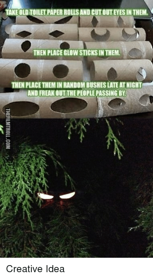 Funny, Old, and Sticks: TAKE OLD TOILET PAPER ROLLS AND CUT OUTEYES IN THEM.  THEN PLACE GLOW STICKS IN THEM.  THEN PLACE THEM IN RANDOM BUSHES LATE AT NIGHT  AND FREAK OUT THE PEOPLE PASSING BY Creative Idea