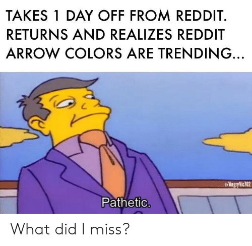Reddit Arrow: TAKES 1 DAY OFF FROM REDDIT.  RETURNS AND REALIZES REDDIT  ARROW COLORS ARE TRENDING.  u/AngryVic702  Pathetic What did I miss?