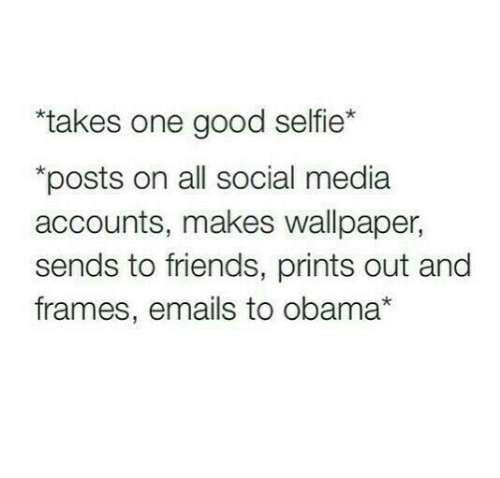 """Emails: """"takes one good selfie*  posts on all social media  accounts, makes wallpaper,  sends to friends, prints out and  frames, emails to obama*"""
