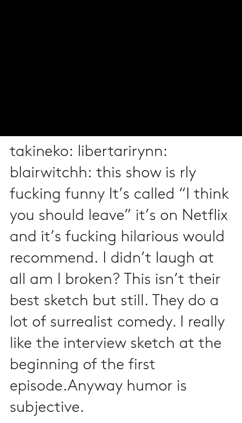 "The Interview: takineko:  libertarirynn:  blairwitchh:  this show is rly fucking funny  It's called ""I think you should leave"" it's on Netflix and it's fucking hilarious would recommend.  I didn't laugh at all am I broken?  This isn't their best sketch but still. They do a lot of surrealist comedy. I really like the interview sketch at the beginning of the first episode.Anyway humor is subjective."
