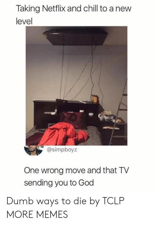 ways to die: Taking Netflix and chill to a new  level  @simpboyz  One wrong move and that TV  sending you to God Dumb ways to die by TCLP MORE MEMES