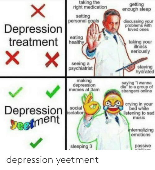 psychiatrist: taking the  right medication  getting  enough sleep  setting  personal goals  discussing your  problems with  loved ones  Depression  treatmentea  X  eating  taking your  illness  seriously  X  seeing a  psychiatrist  staying  hydrated  making  depression  memes at 3am  saying i wanna  die to a group of  strangers online  crying in your  bed while  listening to sad  music  Depressionon  Jeetment  social  isolation  internalizing  emotions  sleeping 3  passive  ibilion  X depression yeetment