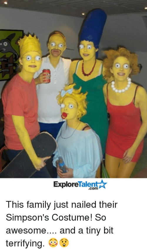 tinie: Talent A  Explore This family just nailed their Simpson's Costume! So awesome.... and a tiny bit terrifying. 😳😲
