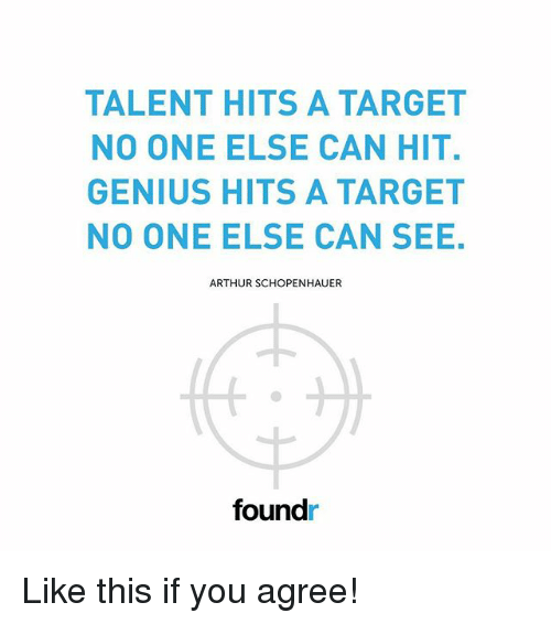 Arthur, Memes, and Target: TALENT HITS A TARGET  NO ONE ELSE CAN HIT.  GENIUS HITS A TARGET  NO ONE ELSE CAN SEE  ARTHUR SCHOPENHAUER  foundr Like this if you agree!