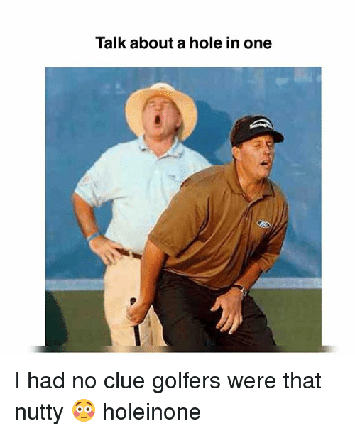 Memes, 🤖, and Clue: Talk about a hole in one I had no clue golfers were that nutty 😳 holeinone