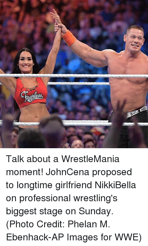 Memes, World Wrestling Entertainment, and Wrestlemania: Talk about a WrestleMania moment! JohnCena proposed to longtime girlfriend NikkiBella on professional wrestling's biggest stage on Sunday. (Photo Credit: Phelan M. Ebenhack-AP Images for WWE)