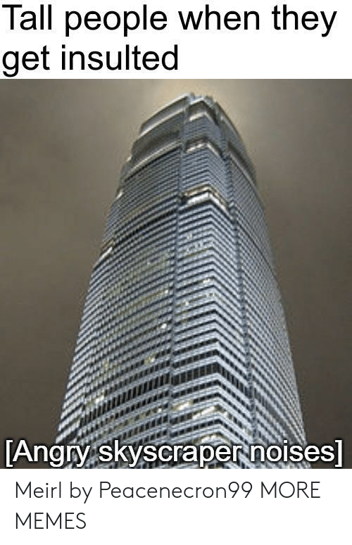 tall people: Tall people when they  get insulted  Angry skyscrapernorses Meirl by Peacenecron99 MORE MEMES