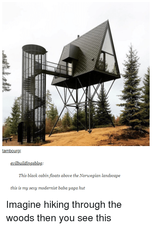 Baba: tambourgi  evilbuildingsblog.  e the Norvegian  this is my sexy modernist baba yaga hut Imagine hiking through the woods then you see this