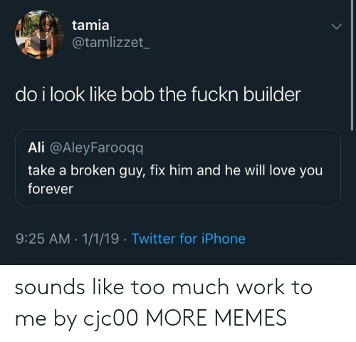 love you forever: tamia  @tamlizzet  do i look like bob the fuckn builder  Ali @AleyFarooqq  take a broken guy, fix him and he will love you  forever  9:25 AM.1/1/19 Twitter for iPhone sounds like too much work to me by cjc00 MORE MEMES