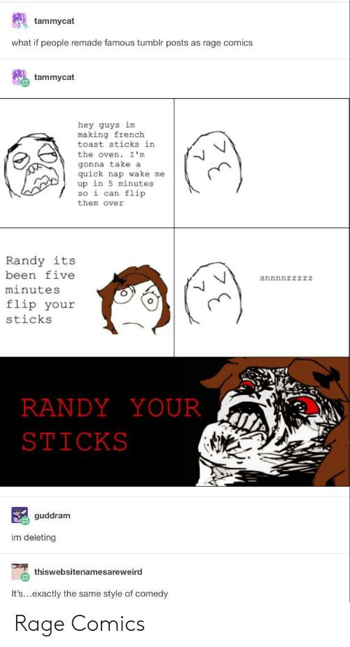 French Toast: tammycat  what if people remade famous tumblr posts as rage comics  tammycat  hey guys im  making french  toast sticks in  the oven. I 'm  gonna take a  quick nap wake me  up in 5 minutes  so i can flip  them over  Randy its  been five  minutes  flip your  sticks  snnnnzzzzZ  RANDYYOUR  STICKS  guddram  im deleting  thiswebsitenamesareweird  It's...exactly the same style of comedy Rage Comics