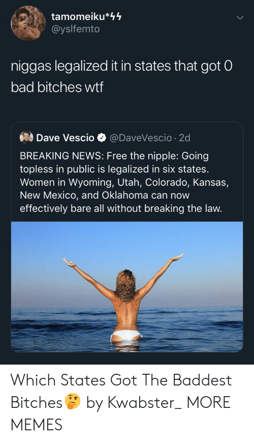 Colorado: tamomeiku*44  @yslfemto  niggas legalized it in states that got 0  bad bitches wtf  Dave Vescio  @DaveVescio 2d  BREAKING NEWS: Free the nipple: Going  topless in public is legalized in six states.  Women in Wyoming, Utah, Colorado, Kansas,  New Mexico, and Oklahoma can now  effectively bare all without breaking the law. Which States Got The Baddest Bitches🤔 by Kwabster_ MORE MEMES