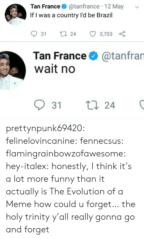 trinity: Tan France@tanfrance 12 May  If l was a country l'd be Brazil  31 ti 24 3,703  Tan France  wait no  @tanfran  31 t  24 prettynpunk69420:  felinelovincanine:  fennecsus:   flamingrainbowzofawesome:  hey-italex: honestly, I think it's a lot more funny than it actually is The Evolution of a Meme  how could u forget…   the holy trinity  y'all really gonna go and forget