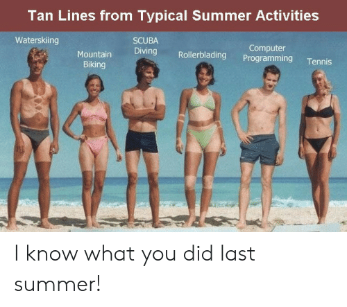 Biking: Tan Lines from Typical Summer Activities  Waterskiing  SCUBA  Diving Rollerblading Programming Tennis  Computer  Biking I know what you did last summer!
