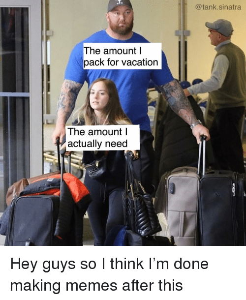 Actually Need: @tank.sinatra  The amount l  pack for vacation  The amount l  actually need Hey guys so I think I'm done making memes after this