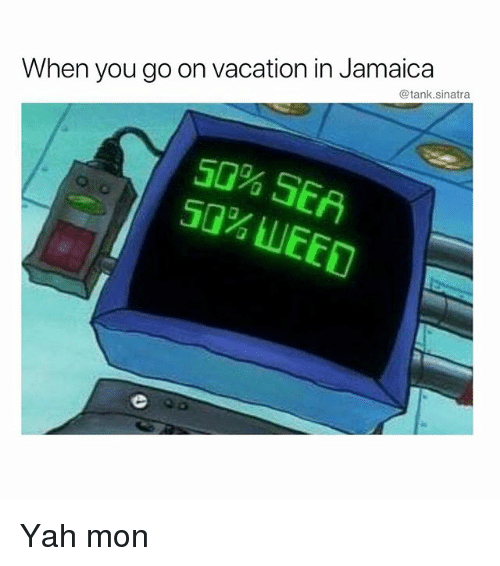 Funny, Weed, and Yah: @tank.sinatra  When you go on vacation in Jamaica  5G% SE  50% WEED Yah mon