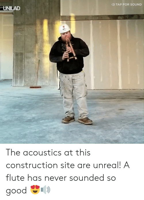 flute: TAP FOR SOUND  UNILAD The acoustics at this construction site are unreal! A flute has never sounded so good 😍🔊