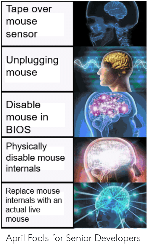bios: Tape over  mouse  sensor  Unplugging  mouse  Disable  mouse in  BIOS  Physically  disable mouse  internals  Replace mouse  internals with an  actual live  mouse April Fools for Senior Developers
