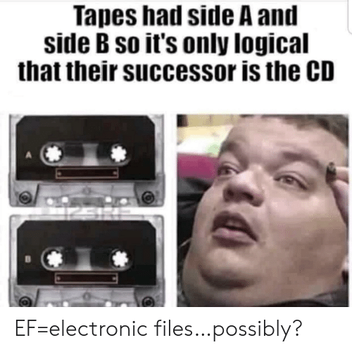 Possibly: Tapes had side A and  side B so it's only logical  that their successor is the CD EF=electronic files…possibly?