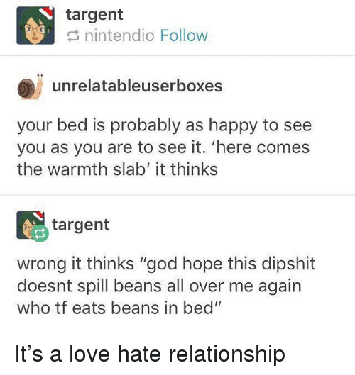 """God, Love, and Memes: targent  nintendio Follow  unrelatableuserboxes  your bed is probably as happy to see  you as you are to see it. 'here comes  the warmth slab' it thinks  targent  wrong it thinks """"god hope this dipshit  doesnt spill beans all over me again  who tf eats beans in bed"""" It's a love hate relationship"""