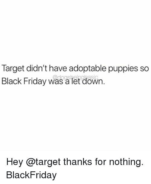 Black Friday, Friday, and Memes: Target didn't have adoptable puppies so  Black Friday was a let down. Hey @target thanks for nothing. BlackFriday