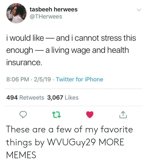 Health Insurance: tasbeeh herwees  @THerwees  i would likeand i cannot stress this  enough-a living wage and health  insurance  8:06 PM- 2/5/19 Twitter for iPhone  494 Retweets 3,067 Likes These are a few of my favorite things by WVUGuy29 MORE MEMES