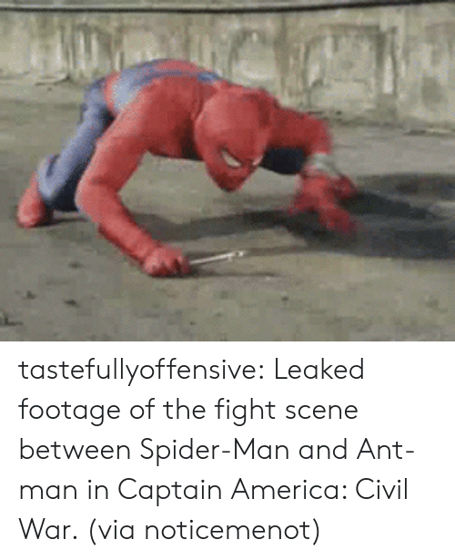 reddit: tastefullyoffensive:  Leaked footage of the fight scene between Spider-Man and Ant-man in Captain America: Civil War. (via noticemenot)
