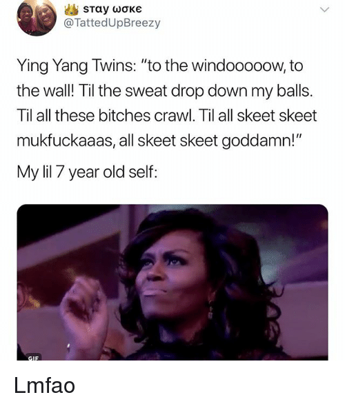 """skeet: @TattedUpBreezy  Ying Yang Twins: """"to the windooooow, to  the wall! Til the sweat drop down my balls.  Til all these bitches crawl. Til all skeet skeet  mukfuckaaas, all skeet skeet goddamn!""""  My lil 7 year old self  GIF Lmfao"""
