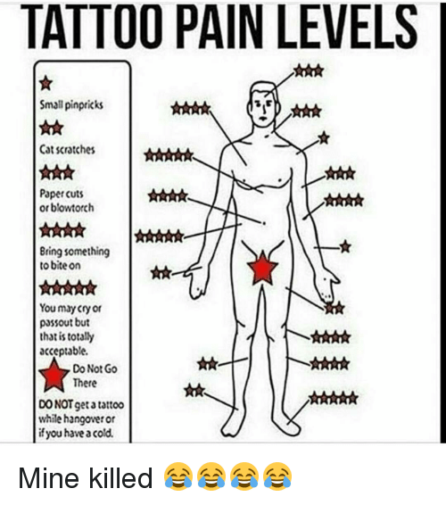 Having A Cold: TATTOO PAIN LEVELS  Small pinpricks  Cat scratches  Paper cuts  or blowtorch  Bring something  to bite on  You may cry or  passout but  that is totally  acceptable.  Do Not Go  There  DO NOT get tattoo  while hangowetor  if you have a cold. Mine killed 😂😂😂😂