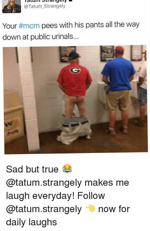 Memes, True, and Sad: @Tatum_Strangely  Your #mcm pees with his pants all the way  down at public urinals... Sad but true 😂 @tatum.strangely makes me laugh everyday! Follow @tatum.strangely 👈 now for daily laughs
