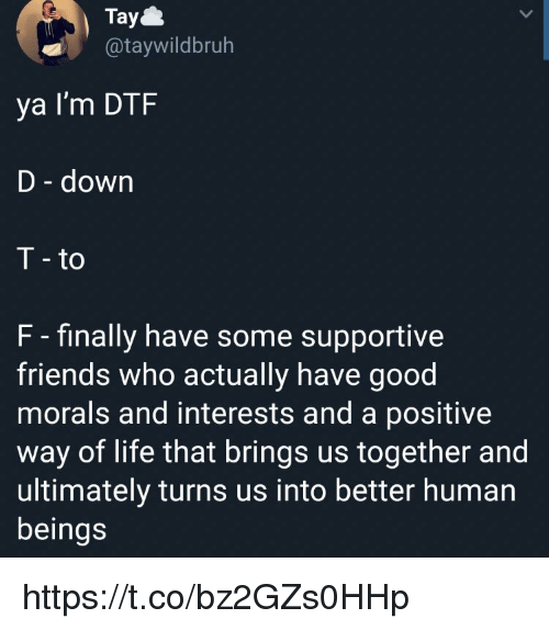 dtf: Tay  @taywildbruh  ya I'm DTF  D - down  T - to  F - finally have some supportive  friends who actually have good  morals and interests and a positive  way of life that brings us together and  ultimately turns us into better human  beings https://t.co/bz2GZs0HHp