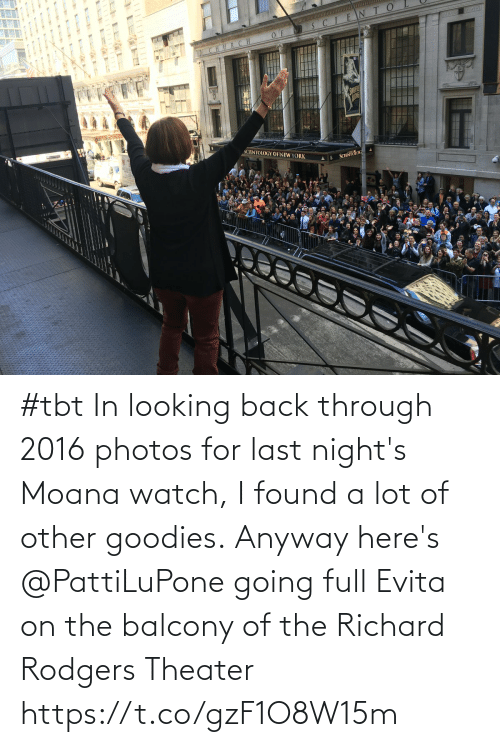 A Lot: #tbt In looking back through 2016 photos for last night's Moana watch, I found a lot of other goodies. Anyway here's @PattiLuPone going full Evita on the balcony of the Richard Rodgers Theater https://t.co/gzF1O8W15m