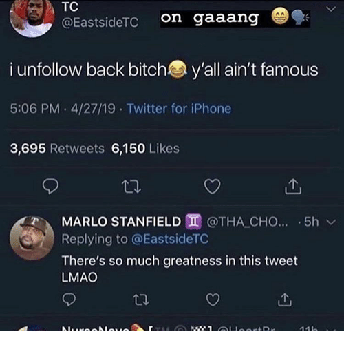 Tha: TC  on gaaang  @EastsideTC  i unfollow back bitch  y'all ain't famous  5:06 PM 4/27/19 Twitter for iPhone  3,695 Retweets 6,150 Likes  MARLO STANFIELD @THA CHO... 5h  Replying to @EastsideTC  There's so much greatness in this tweet  LMAO  : 1 OHoortRr  Nurcolauo  11h