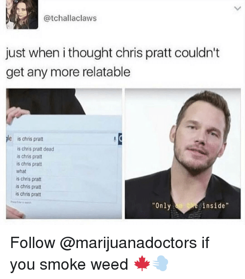 """Chris Pratt, Memes, and Weed: @tchallaclaws  just when i thought chris pratt couldn't  get any more relatable  le is chris prat  is chris pratt dead  is chris pratt  is chris pratt  what  is chris prat  is chris pratt  is chris pratt  """"Only  inside Follow @marijuanadoctors if you smoke weed 🍁💨"""