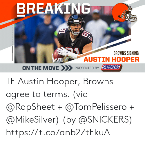 Austin: TE Austin Hooper, Browns agree to terms. (via @RapSheet + @TomPelissero + @MikeSilver)  (by @SNICKERS) https://t.co/anb2ZtEkuA