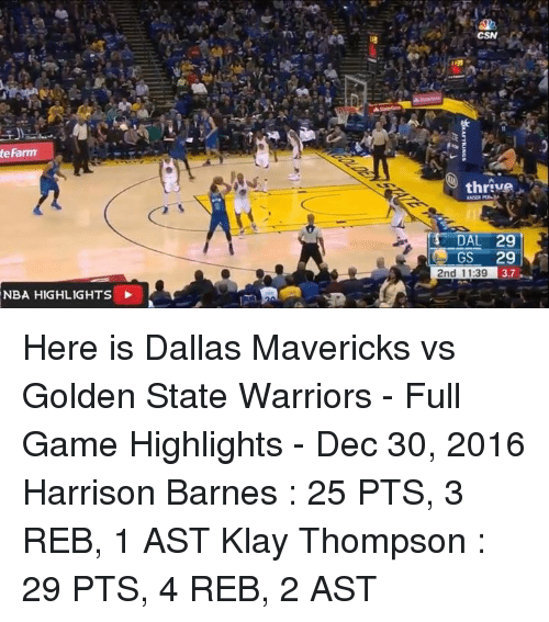 Warriors Full Game Highlights Game 3: Te Farm NBA HIGHLIGHTS Thrive Is DAL 29 GS 29 2nd 1139 37