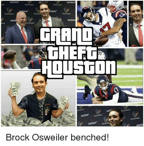 Football, Nfl, and Sports: TE KAhss  GRAND  THEFT&  HOUSGON Brock Osweiler benched!