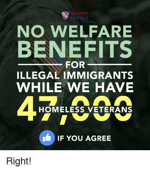Homeless, Memes, and Patriotic: TEA PARTY  PATRIOTS  NO WELFARE  BENEFITS  FOR  ILLEGAL IMMIGRANTS  WHILE WE HAVE  HOMELESS VETERANS  IF YOU AGREE Right!