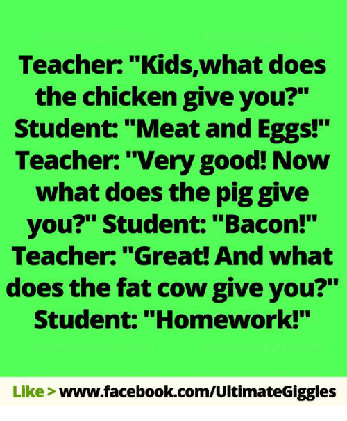 "Homework: Teacher: ""Kids,what does  the chicken give you?""  Student: ""Meat and Eggs!""  Teacher: ""Very good! Now  what does the piggive  you?"" Student: ""Bacon!""  Teacher: ""Great! And what  does the fat cow give you?""  Student: ""Homework!""  Like  www.facebook.com/UltimateGiggles"