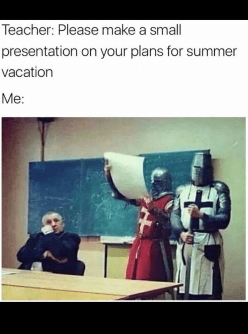 Your Plans: Teacher: Please make a small  presentation on your plans for summer  vacation  Me: