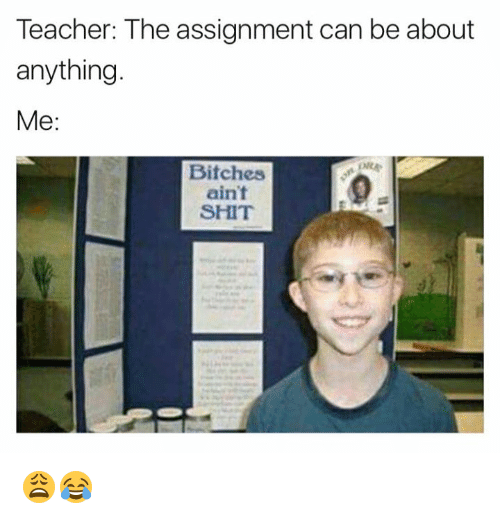 Shit, Teacher, and Can: Teacher: The assignment can be about  anything  Me  Bitches  ain't  SHIT 😩😂