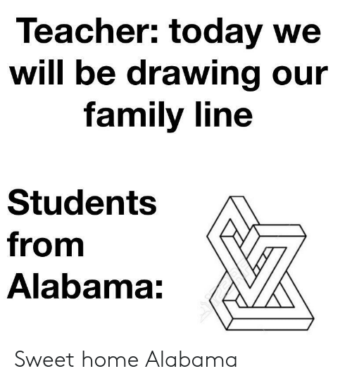 Alabama: Teacher: today we  will be drawing our  family line  Students  from  Alabama: Sweet home Alabama