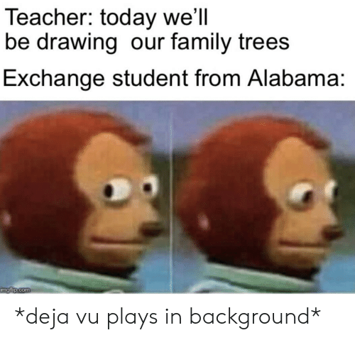 deja: Teacher: today we'll  be drawing our family trees  Exchange student from Alabama:  imgflip.com *deja vu plays in background*