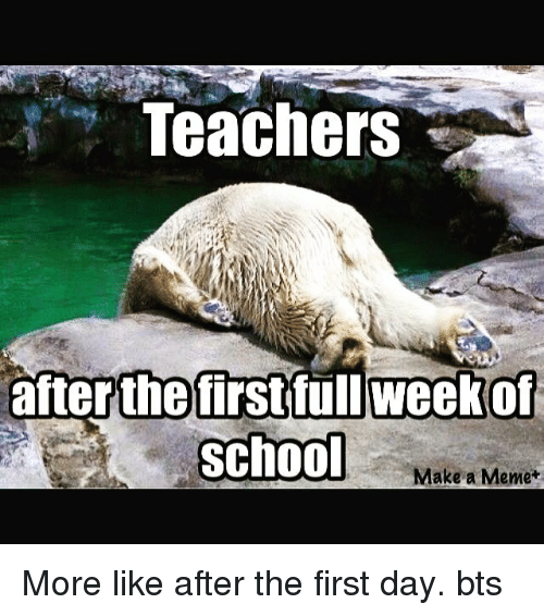 Meme, Memes, and School: Teachers  after the first full week of  School  Make a Meme+ More like after the first day. bts