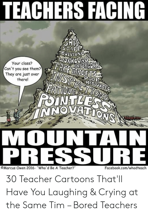 owen: TEACHERS FACING  SATS  STAFF  BULLYING  WORKLOAD  AERWORK  FAKETARGETS  Your class?  TNSPECTIONS  FATICUE  POINTLESS  INNOVATIONS  Can't you see them?  They are just over  there!  POOR  RESOURGES  MOUNTAIN  PRESSURE  Facebook.com/whodteach  Marcus Owen 2016- Who'd Be A Teacher? 30 Teacher Cartoons That'll Have You Laughing & Crying at the Same Tim – Bored Teachers