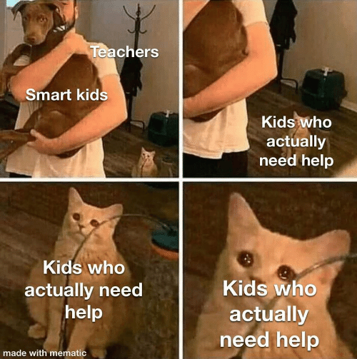 Mematic: Teachers  Smart kids  Kids who  actually  need help  Kids who  Kids who  actually need  help  actually  need help  made with mematic