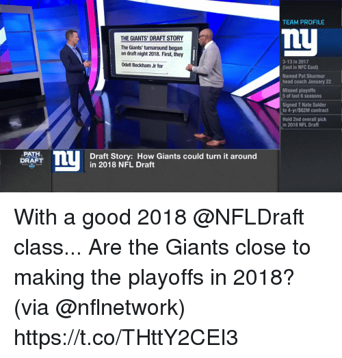 Head, Memes, and Nfl: TEAM PROFILE  nU  THE GIANTS' DRAFT STORY  The Giants' turnaround began  on draft night 2018. First, they  3-13 in 2017  (last in NFC East)  Named Pat Shurmur  head coach January 22  Missed playoffs  Odell Beckham Jr for  5 of last 6 seasons  Signed T Nate Solder  to 4-yr/$62M contract  Hold 2nd overall pick  in 2018 NFL Draft  PATH  DRAFT  Draft Story: How Giants could turn it around  in 2018 NFL Draft  TO TH With a good 2018 @NFLDraft class...  Are the Giants close to making the playoffs in 2018? (via @nflnetwork) https://t.co/THttY2CEI3