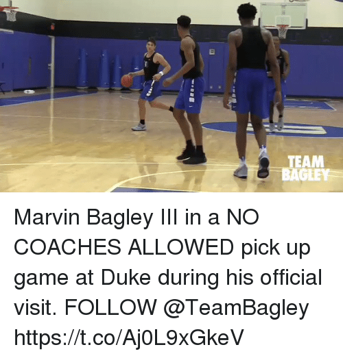 Memes, Duke, and Game: TEAM  RAGLEY Marvin Bagley III in a NO COACHES ALLOWED pick up game at Duke during his official visit. FOLLOW @TeamBagley https://t.co/Aj0L9xGkeV