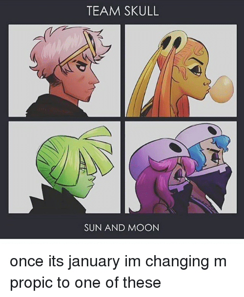 Memes, Moon, and Skull: TEAM SKULL  SUN AND MOON once its january im changing m propic to one of these