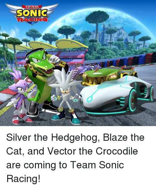 vector: TEAM  SONIC  RACING Silver the Hedgehog, Blaze the Cat, and Vector the Crocodile are coming to Team Sonic Racing!